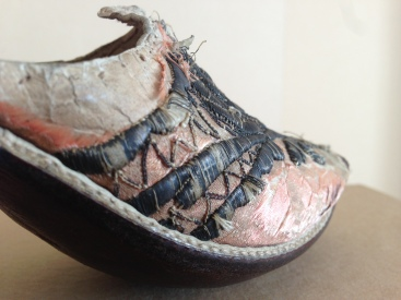 1750s Pink satin with silver metal embroidery, white heel cover. Charles Paget Wade costume collection, stored at Berrington Hall