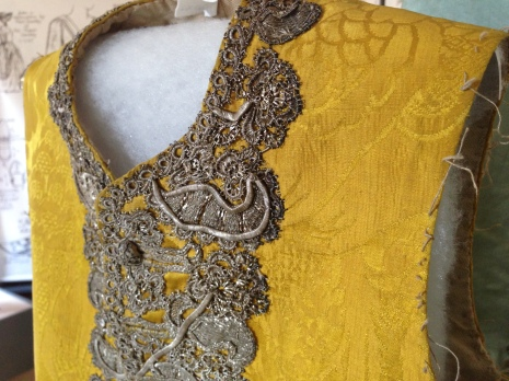 1750 - 60 Gold Silk Damask Waistcoat, 'Wearing the Garden' exhibition at Berrington Hall until June 30th. Snowshill Costume Collection.